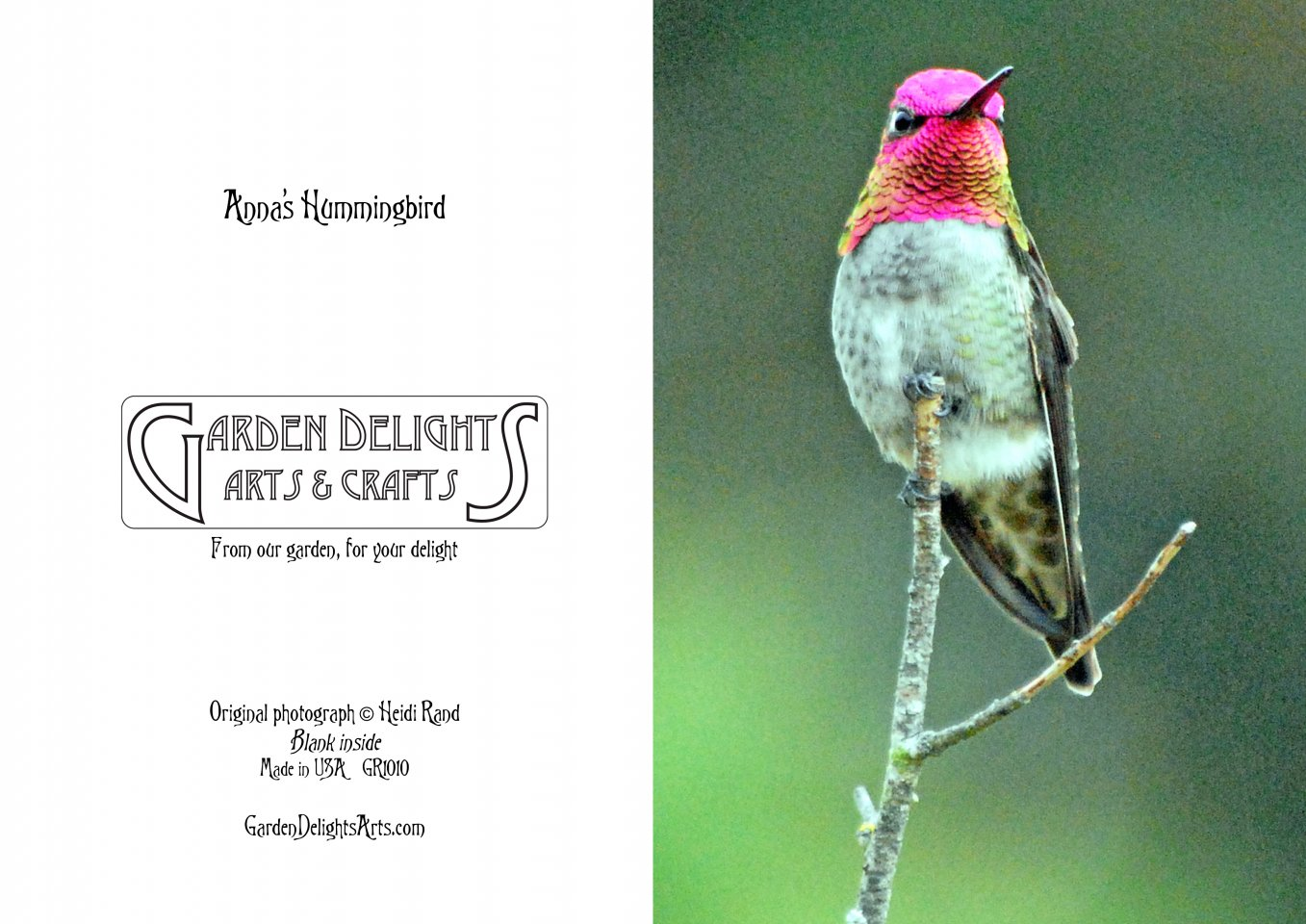 Example of the front and back of greeting cards