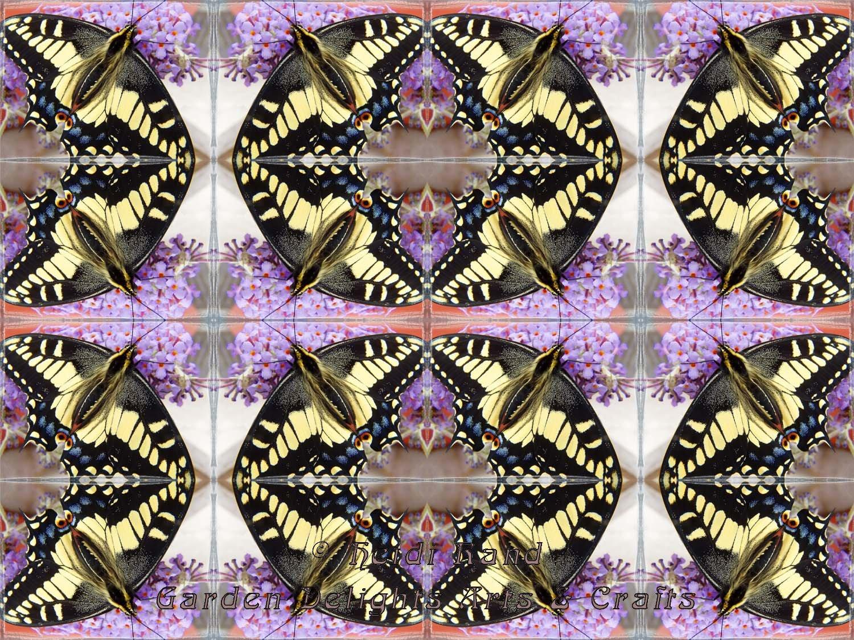 Swallowtail butterfly with buddleia kaleidoscope