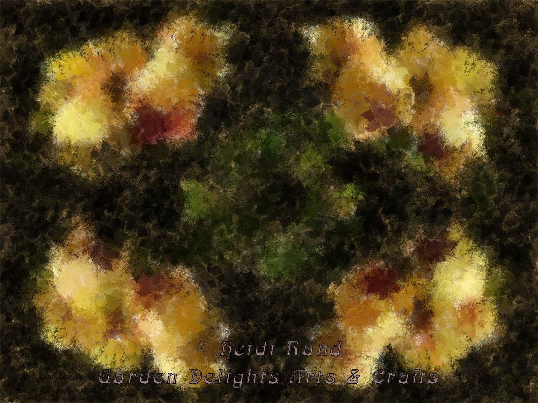 Yellow cymbidium diffuse kaleidoscope