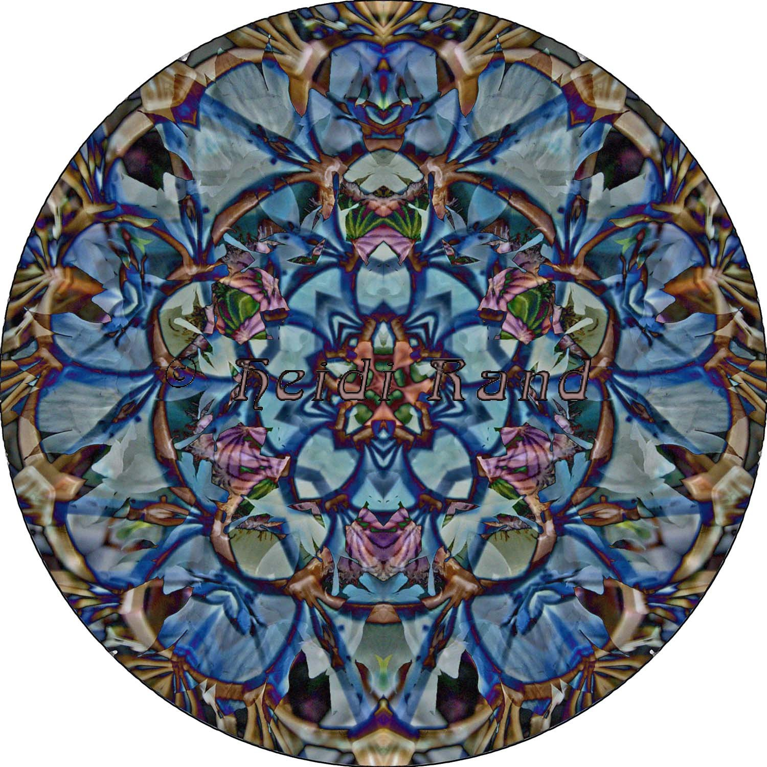 White poppy elevator collage mandala