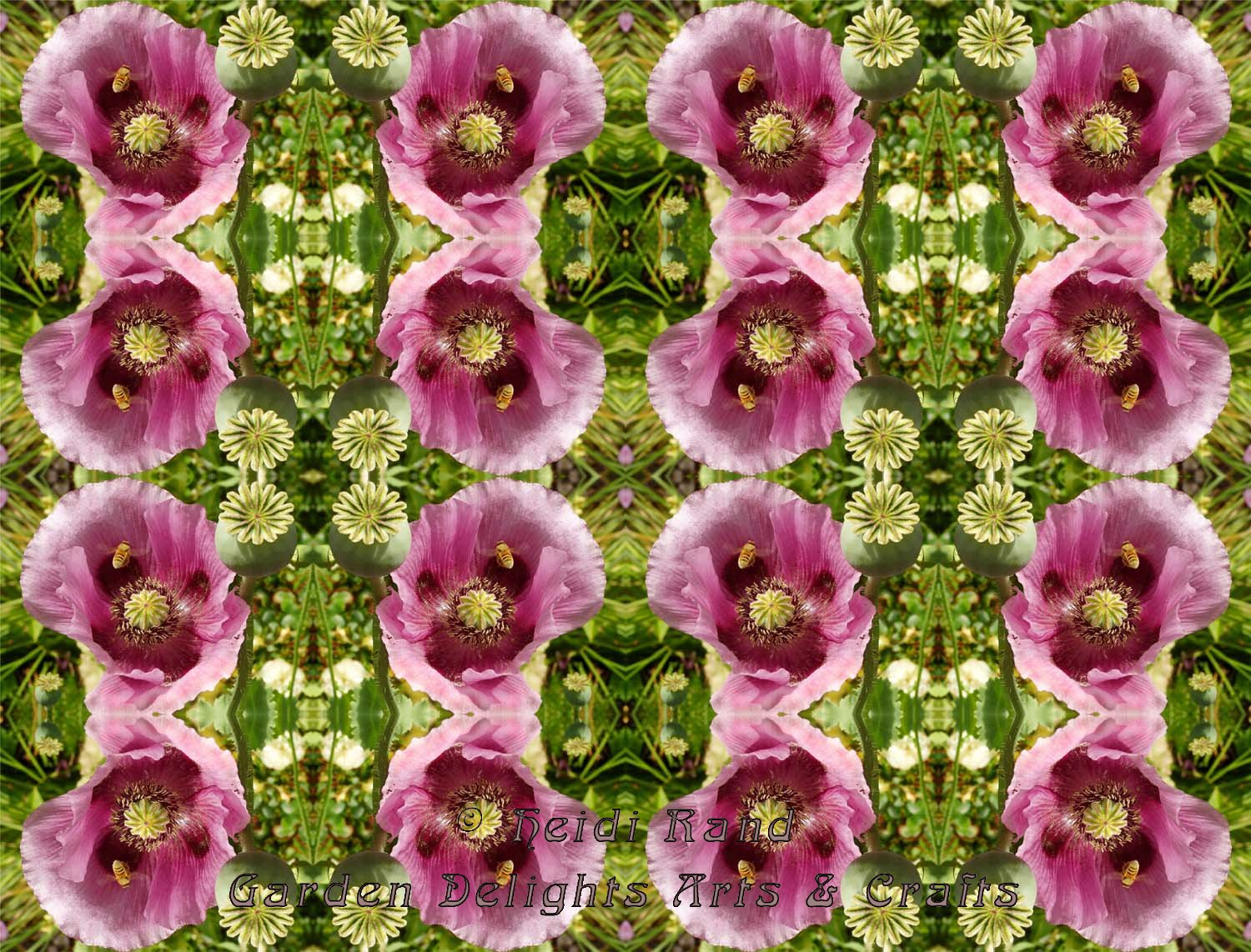 Poppy and bee kaleidoscope