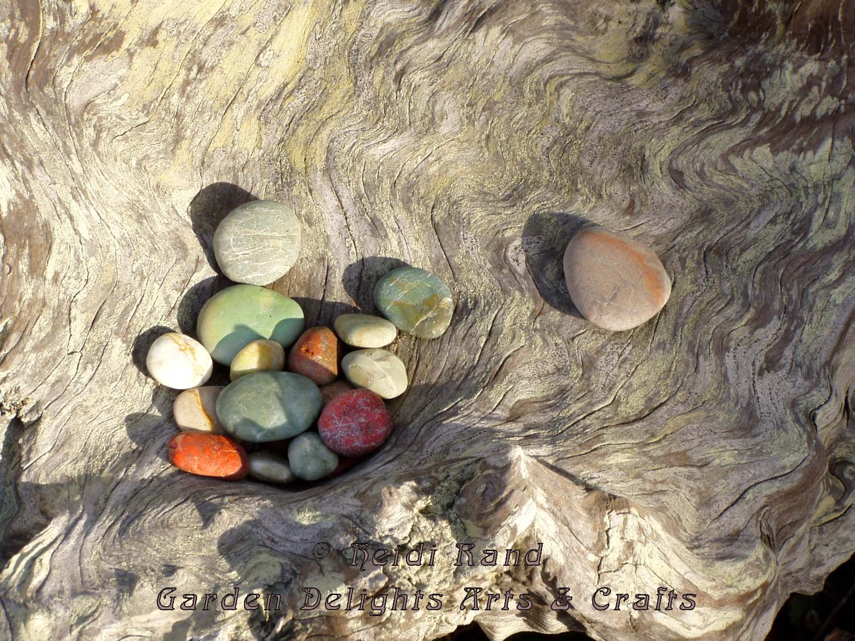 Pebbles in beach wood